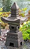 IDYL Lavastein-Skulptur Laterne Pagoda | Höhe 55 cm | Lava-Stein Laterne handgefertigt | Stilvolle Gartenskulptur aus Naturstein | Asiatische Gartendeko | Für Teelicht geeignet | Wetterfest | 29