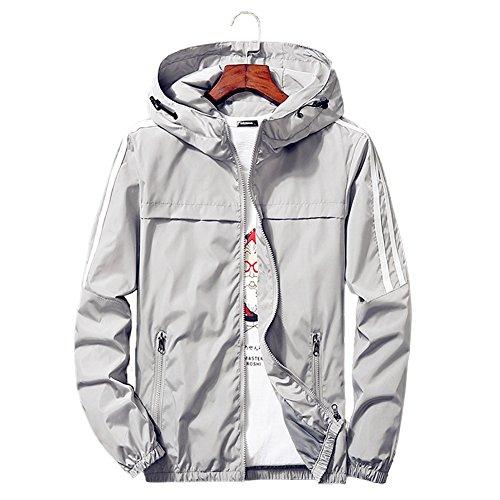 Qingxian Veste Homme Coupe-Vent Garçon Blouson Imperméable Coupe-Pluie Léger Multifonction Veste à Capuche Running Softshell Manteau