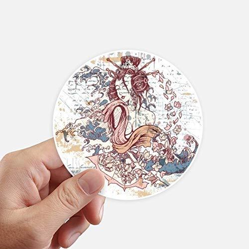 DIYthinker Geisha Kimono Waves Fan Japon adhésifs Ronds de 10 cm Mur Valise pour Ordinateur Portable Motobike Decal 8Pcs diamètre 10Cm Multicolor