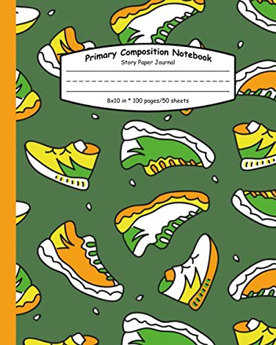Primary Composition Notebook: Funky Sneaker Composition School Book and Drawing Diary for Grades K-2 - Doodle Shoe Handwriting Notebook with Dashed Mid-line and Story Paper Journal