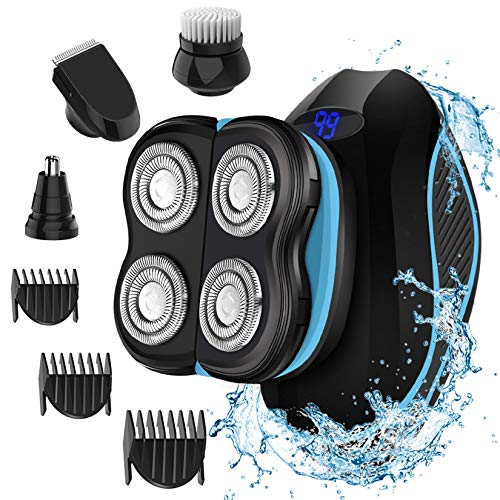 Head Shavers for Bald Men, MANLI Shaver for Men, 4 in 1 Electric Men Shaver Grooming Kit, Cordless Wet Dry Shaver with Hair Clippers, Nose Hair Trimmer, Facial Brush Best Gift for Men Dad Family