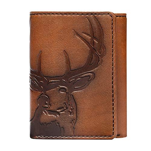 HOJ Co. DEER Trifold Wallet | Full Grain Leather | Men's Leather Trifold Wallet | Deer Wallet | Outdoors Wallet | Hunter Gift