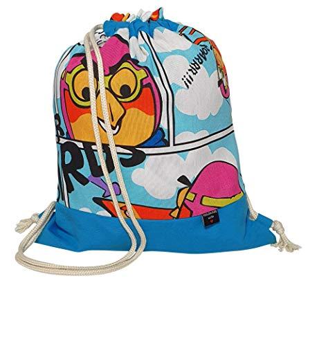 NORD SAGA BLUE Drawstring Bag for Kids, School, Gym, Rucksack for Boys Girls, Backpack,100% Cotton, Handmade SPAIN (blue)