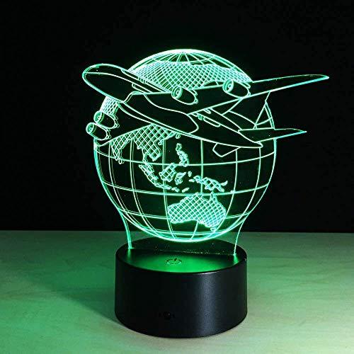 Flying World Globe Airplane 3D-LED-Lichtkunstskulptur Lichtfarbe 3D-Folie mit Touch-Taste