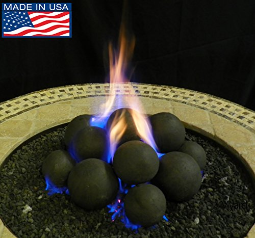 Myard 14 Cannonball Fire Stones Log Set for Fire Pit/Personal Fireplace (1, with 20LBs Lava Granules)