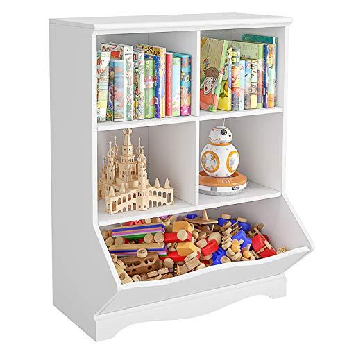 HOMECHO Kinderregal mit 5 Fächern Spielzeug Bücherregal Aufbewahrungsregal für Kinder Standregal für Kinderzimmer weiß Schule, 67×40×88 cm