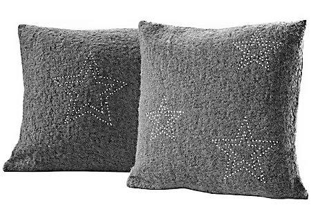 Kissenhüllen (2 Stck.), Dekokissen mit Stern in Grau Größe: 40 x 40 cm