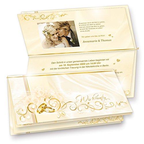 Einladungskarten Hochzeit mit PERLMUTT-Effekt, Klappkarten mit Einlegeblätter zum Selbstbedrucken, 40 Set