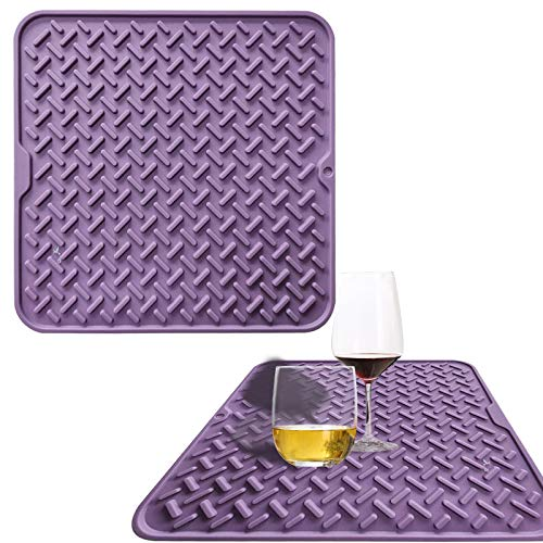 Silicone Dish Drying Mats , Heat Resistant Draining Board Mat Anti Slip Drainer Pads Trivet for Kitchen Countertop ,Sink ,Drip Tray, 11.8' X 11.8' Purple Mat