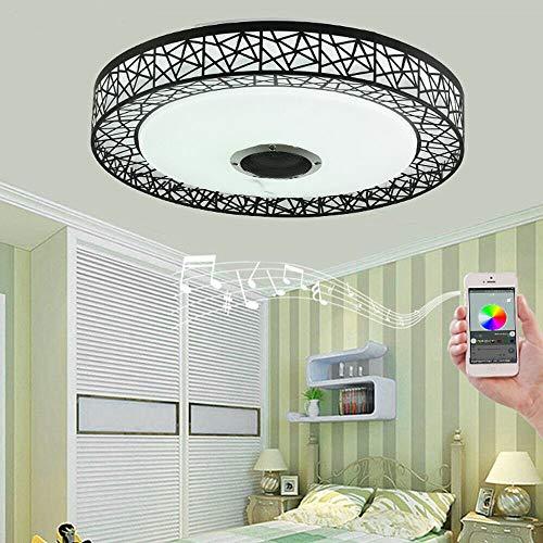 OUKANING Deckenleuchte LED Schwarz Decken Lampe 36W LED APP Dimmbare Wohnzimmer, Bluetooth Musik Lautsprecher Kinderzimmer, Schlafzimmer, Wohnzimmer