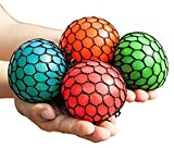 Anti-Stress Mesh Squishy Ball Squeeze Grape Ball Relieve Pressure Ball, Colors May Vary, 5 Pack