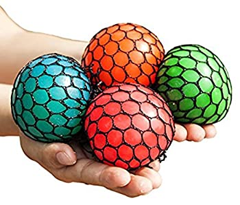 Anti-Stress Mesh Squishy Ball Squeeze Grape Ball Relieve Pressure Ball Colors May Vary 5 Pack