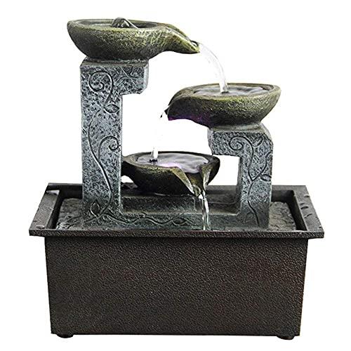 Fuente de Agua para Mesa Interior de 5 Niveles Fuente Zen Interior para Dormitorio de Oficina Interior al Aire Libre