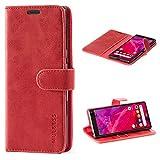Mulbess Handyhülle für Sony Xperia 10 Hülle, Leder Flip Case Schutzhülle für Sony Xperia 10 Tasche, Wein Rot