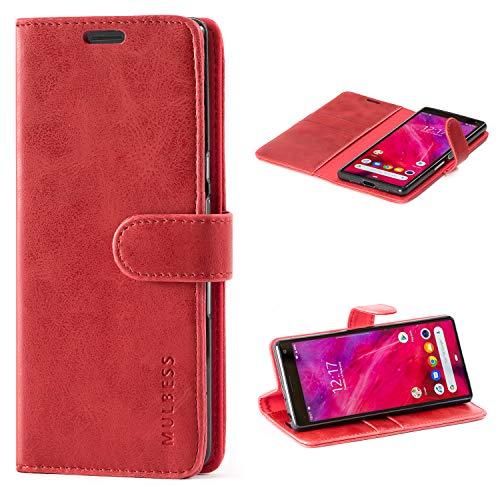 Mulbess Handyhülle für Sony Xperia 10 Hülle Leder, Sony Xperia 10 Handy Hüllen, Vintage Flip Handytasche Schutzhülle für Sony Xperia 10 Hülle, Wein Rot