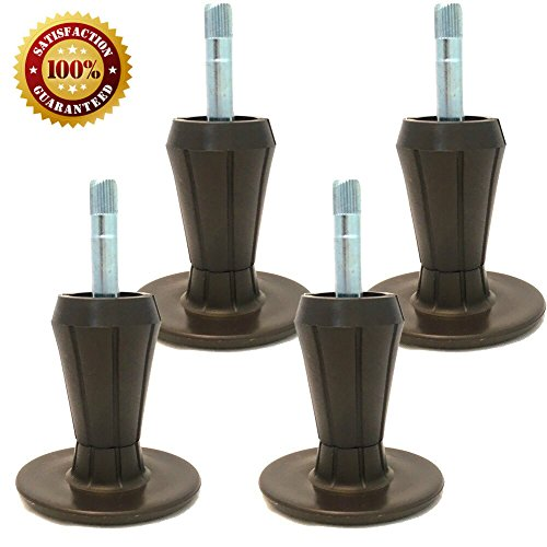 Home Paradise Steel Stem Plastic Feet | Sturdy Legs Protect Your Floor by Changing Wheels with These Bed Frame Glide | Dark Brown | Set of 4