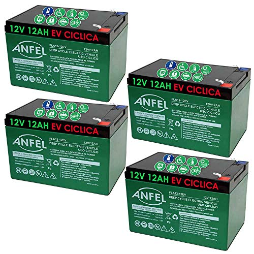 KIT 4 BATTERIE AL PIOMBO RICARICABILE 12V 48V 12AH CICLICA USO CICLICO BICI BICICLETTE ELETTRICHE MONOPATTINI QUAD ELETTRICI TRAZIONE ELETTRICA CONNETTORI FASTON 6,35mm DEEP CYCLE 6-DZM-12 6DZM12