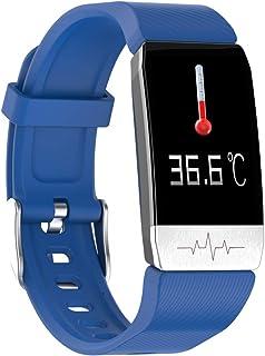 Bainuojia Reloj inteligente T1, pulsera de fitness con pantalla táctil completa IP67, impermeable, Bluetooth, rastreador de fitness, GPS, banda deportiva con podómetro, monitor de frecuencia cardíaca, medición de temperatura para iOS y Android