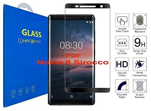 Nokia 8 Sirocco - Curvo 3D Pellicola Protettiva Vetro Temperato, 3D da Bordo a Bordo Copertura Completa con Pellicola Proteggi Schermo per Nokia 8 Sirocco ( Nero )