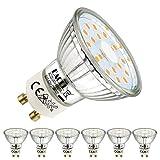 EACLL Bombillas LED GU10 Luz Calida 5W Equivalente a 50W Halógena Lámpara, 6 Unidades. 2700K Blanco Cálido 425 Lúmenes, No Regulable, AC 230V Sin Parpadeo Focos, Ángulo 120° Reflectoras Spot