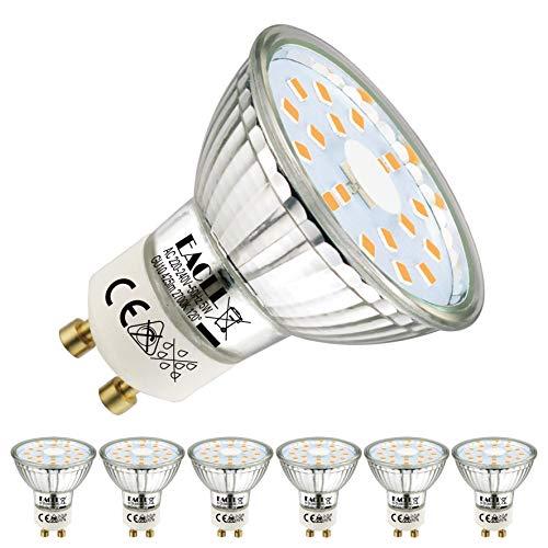 EACLL GU10 LED 5W 2700K Warmweiss Leuchtmittel 425 Lumen Birnen kann Ersetzen 50W Halogen. AC 230V Kein Strobe Strahler, Abstrahlwinkel 120 ° Reflektor Lampen, Warmweiß Licht Spotleuchten, 6 Pack