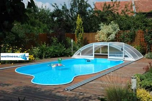 Well Solutions Pool Schwimmbad Überdachung 10,63 m Pool Schiebehalle Abdeckung 10,63 m L 1063 x B 570 x H 155 cm Well Solutions