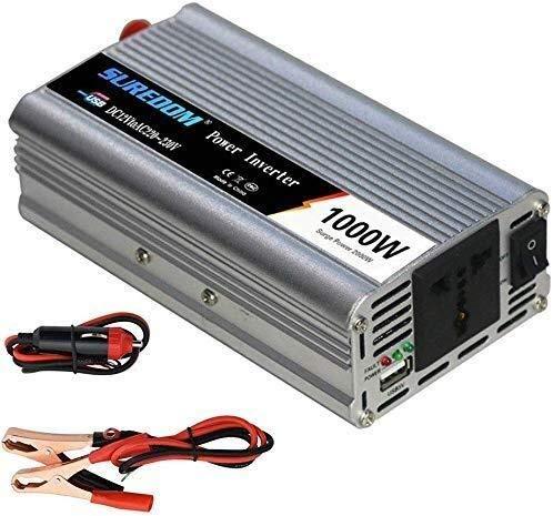 QJM AC convertidor de coche 1000W / 2000W de energía de coche Inversor de onda sinusoidal pura 12V / 24V CC a 110V / 240V AC Inversor, salidas del vagón convertidor con aire acondicionado y 2.1A puert