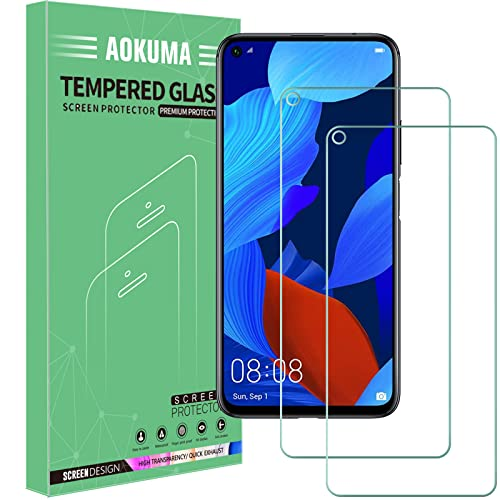 AOKUMA für Huawei Nova 5T Panzerglas, 【2 Stücke】Glas kompatibel mit Huawei Nova 5T Schutzfolie, Premium Glasfolie mit 9H Festigkeit, Anti Kratzer, Splitterfest,Anti-Öl,Anti-Bläschen
