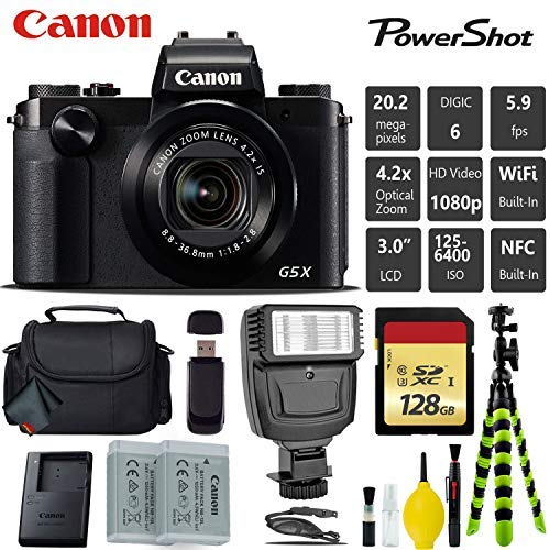 Canon PowerShot G5 X 20.2MP Point and Shoot Digital Camera + Extra Battery + Digital Flash + Camera Case + 128GB Class 10 Memory Card - International Version