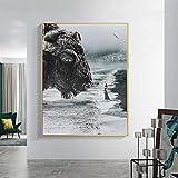 PLWCVERS Imagen de Chica de Vaca Gigante en Lienzo Pared de Animal Salvaje decoración del hogar póster Impreso Pintura de Arte de Pared Decorativo Moderno nórdico | 70x105cm (sin Marco)