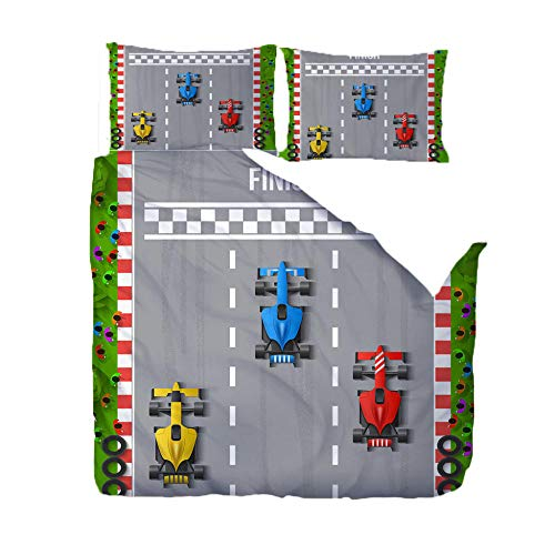 Duvet Cover Set King Size Race Car Competition Bedding Quilt Cover 3 Pcs with Zipper Closure and 2 Pillow Case for Bedding Room Decoration, Soft Microfiber 94.5x86.6inch