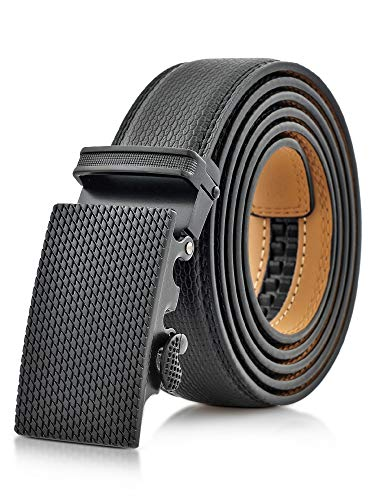 Marino Men's Genuine Leather Ratchet Dress Belt With Automatic Buckle, Trim to Fit Enclosed in an Elegant Gift Box - Sultan - Deep Charcoal - Adjustable from 28' to 44' Waist