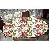 Mantel ajustable de poliéster elástico con diseño de rosas con hojas verdes, estilo bordado, romántico, rectangular, ovalado, elástico, para mesas de hasta 122 cm de ancho x 172 cm de largo