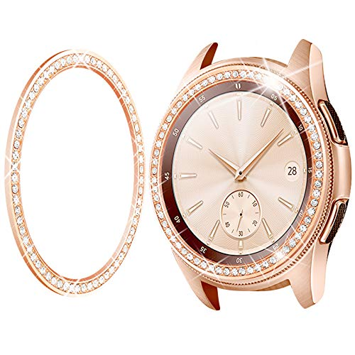 Goton Bezel Ring Compatible Samsung Galaxy Watch 42mm Bezel, Gear Sport, Crystal Bling Diamond Women Men Watch Bezel Cover Protector (42mm, Rose Gold)
