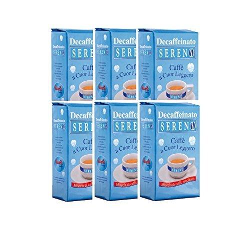 Caffè Quarta Sereno entkoffeinierter Kaffee gemalen N. 6 Pakete 250g jeder Italian Coffee Puglia Salento geproduceerd en verpakt in Salento.