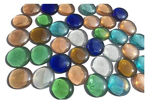 mezcla multicolor cristal piedras Nuggets 3,5cm 600g–Bolas plano Cristal bolitas de cristal Mesa decorativa Decoración Jarrón de vidrio Deko relleno piedras multicolor de Crystal King