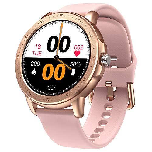 SANAG Smartwatch Activity Tracker Orologio Fitness Tracker Intelligente con Touch Screen, Cardiofrequenzimetro, Contapassi, Contatore di calorie e Impermeabile Smartwatch Donna, Uomo (Rosa)