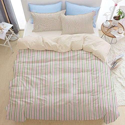 1203 beige Duvet Cover Set,Colorful Stipes Lines Zig Zag Shapes in Festive Time Colors,Microfibre Duvet Cover Set 200x200cm with 2 Pillowcase 50x80cm