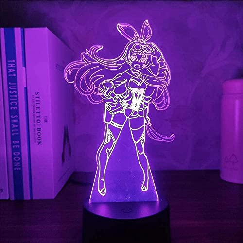 GEZHF 3D LED noche luz anime genshin impacto ámbar noche luz ilusión lámpara juego decoración luces decorar ambiente remoto control táctil control táctil táctil