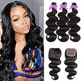 Miss CARA Brazilian Hair Body Wave 3 Bundles with Closure Free Part Double Weft Brazilian Body Wave Hair Bundles 100% Unprocessed Virgin Human Hair Extension Natural Color (24 26 28+20)