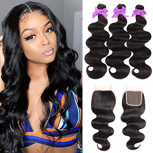 Miss CARA Body Wave Bundles with Closure Free Part 100% Human Hair Bundles (22 24 26 Closure 20) Brazilian Virgin Unprocessed Hair Extensions Natural Black Color Can Be Dyed and Bleached