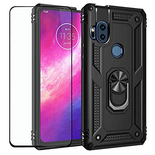 Strug for Moto One Hyper Case,Heavy Duty Shockproof Protection Built-in 360 Rotatable Ring Magnetic Car Mount Case with Screen Protector for Motorola Moto One Hyper(Black)