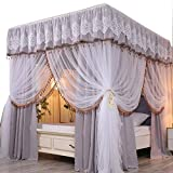 Obokidly 2-in-1 Princess America Village Four Corner Post Bed Curtain Canopy with Mosquito Net...