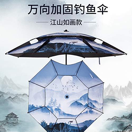 Yamieijia paraplu, bedrukt, 2,4 m, dubbele hengelscherm, dikte 2,2 m, universeel, paraplu, hengelscherm