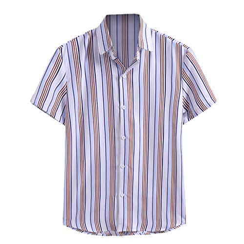 Buy Discount Toimothcn Men's Polo Shirts Striped Printed Short Sleeved Dress Shirt Comfortable Butto...
