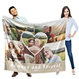 Custom Blankets with Photos Collage, Personalized Blankets and Throws, Personalized Photo Gifts for Mothers Day, , 50'X40', 5 Photo Collage