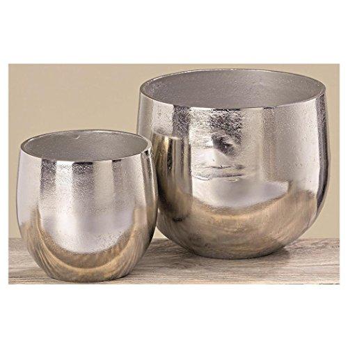 Boltze Vase Flaire Übertopf Aluminium Silber 2er Set