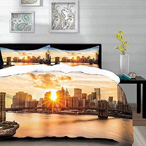 Bedding Juego de Funda de Edredón,Microfibra -Sunset Art, New York Cityscape Brooklyn Bridge Manhattan Hudson Rive - Funda de Nórdico y Fundas de Almohada - (Cama 220 x 240cm + Almohada 63X63c