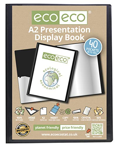 A2 Display Book - 40 Pockets (80 Sides) Black Presentation Display Book Folder Folio for Professionals, Business, Students, Projects, School, Colleges, Home, Office by 4 Square - 89051 (6 Books)