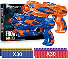 POKONBOY 2 Pack Blaster Guns Toy Guns for Boys with 60 Pack Refill Soft Foam Darts for Kids Birthday Gifts Party Supplies Hand Gun Toys for 4 5 6 7 Year Old Boys